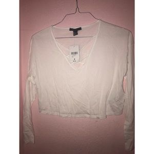 NWT White long sleeve crop top